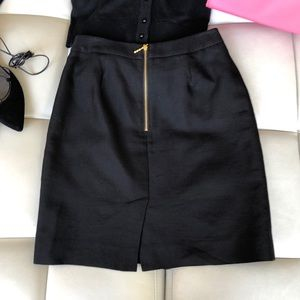 Kate Spade Black Chain Pencil Skirt Gold Zipper